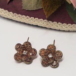 Unique Vintage Leopard print flower earrings